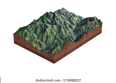 3D rendering.Realistic 3D Map of angeles national forest. Los Angeles, San Bernardino, and Ventura counties, California, United States