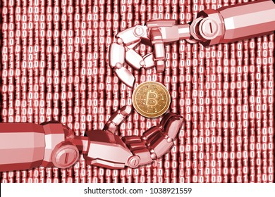 3D rendering,Red theme robot's hand send bitcion to another robot with digital background 0 and 1, finance concept.