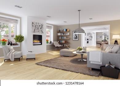 3d renderings living interior