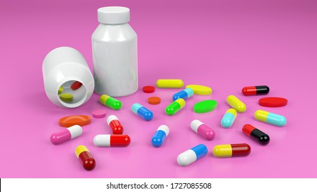 3d renderings of medicine and medicine bottles, a concept for health care and disease treatment.
