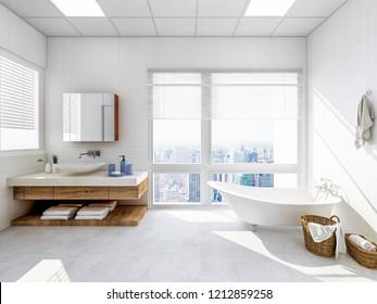 3D rendering,Spacious bathroom and bathroom, sunlight illuminates the bathtub, toilet, sink and shower room in the bathroom through the glass window