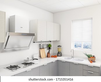 3D rendering,Spacious modern luxurious kitchen with bar design.
