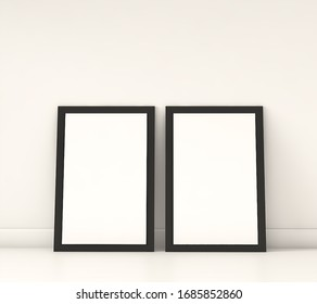 3d rendering.Square Poster with Black Frame Mockup standing on the floor in white room.