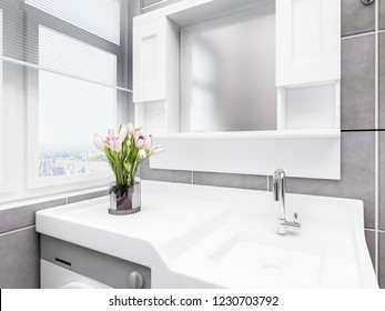 3D rendering,The bathroom and shower room in the modern apartment, this is the washing machine and hand washing counter inside