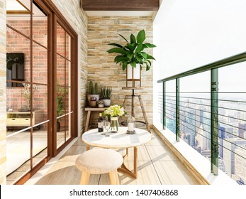 3D rendering,The outer balcony of the city's high-rise housing, with green plants on the balcony, the table is placed outside and is comfortably illuminated by the sun.