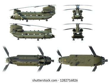 3D renders of army helicopter CH-47 Chinook