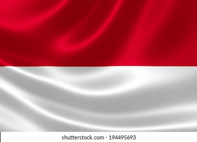 3D rendition of Indonesian flag on silky fabric