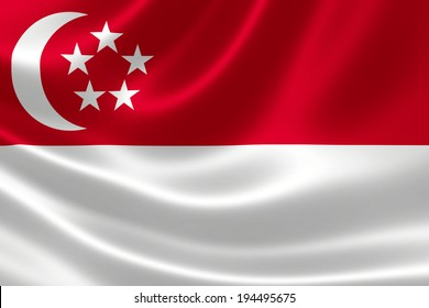 3D rendition of Singapore's flag on silky fabric