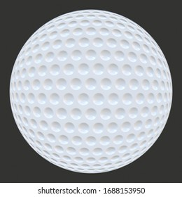 A 3D rendition of a white golf ball on a grey background
