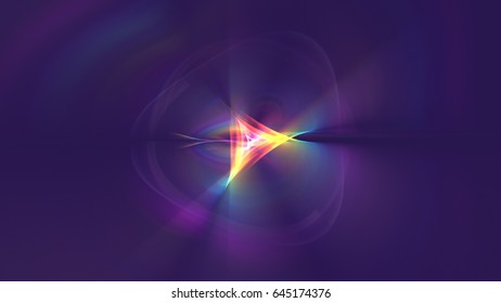 3D rendreing illustration of a curving lines of colorful light streaks