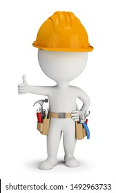 3d repairman with a belt of tools and a helmet showing thumb up. 3d image. White background.