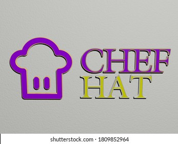 3D representation of CHEF HAT with icon on the wall and text arranged by metallic cubic letters on a mirror floor for concept meaning and slideshow presentation, 3D illustration