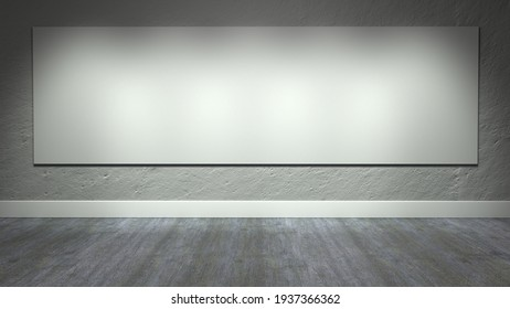 3D Representation of concrete wall with giant canvas and old wooden floor with IES lighting