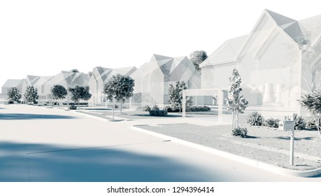 3d residential  neighbourhood, render