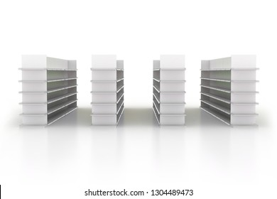 3d retail gondola shelves supermarket aisle