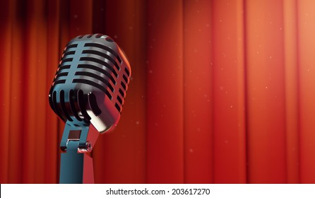 3d retro microphone on red curtain background, copy-space for your text