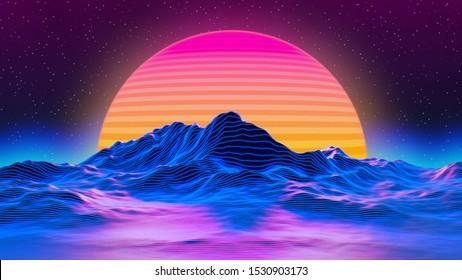 3d retro sun mountain neon 260nw 1530903173