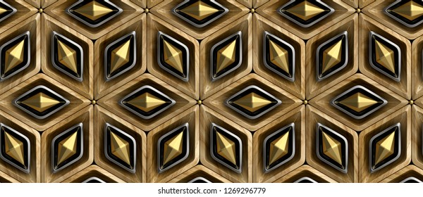 3D rhombuses made of wood with black and gold decor elements. Christmas ornament. High quality seamless realistic texture.