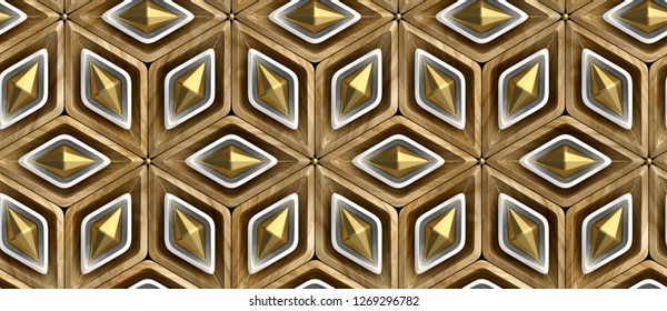 3D rhombuses made of wood with white and gold decor elements. Christmas ornament. High quality seamless realistic texture.