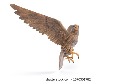 3D right view image of an Eagle sculpture that made from wood on isolated white background