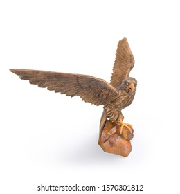 3D right view image of an Eagle sculpture landed on the stick that made from wood on isolated white background