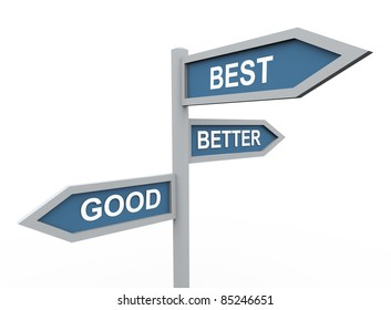 3d road sign of text good, best and better