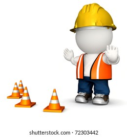 3D road worker - isolated over a white background