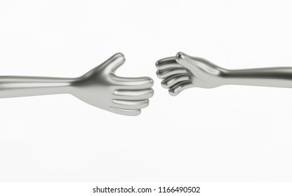 3D robot hands close to touching. Concept of artificial intelligence. 3D Rendering.