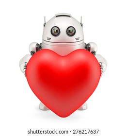 3d Robot holding a red heart. Isolated over white