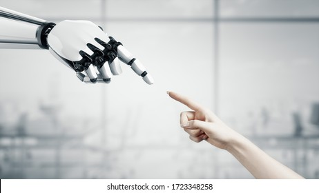 3D Robot reaches out to the woman. Two hands in a proposal position. Artificial Intelligence. Business Design. Friendship between artificial and real people. Conceptual template. Symbol of the connect