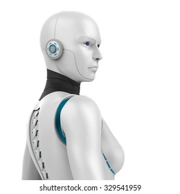 3d robotic woman - back view