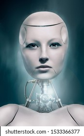 3d robotic woman - face detail view. Portrait of robot woman close-up. Robotic woman with real face. A cyber-girl with a white body and a metal glowing mechanism in her neck looks at the camera.