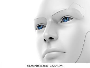 3d robotic woman - face detail view