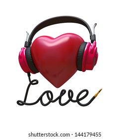 3d rock music concept isolated on white; headphones, heart and cord typographic design