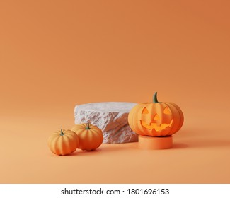 3D rock stone, pedestal podium on pastel orange background.  Halloween pumpkins. Glowing Jack o lantern display showcase for product promotion banner template. Spooky abstract 3D render illustration
