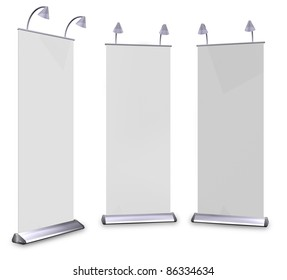 3D roll up banner display And lamp. With Save path for Change the background