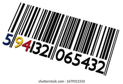 3d Code-barres roumain sur fond blanc