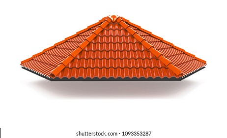 3d roof on the white background. 3d rendering,red roof tile isolated on the white background,Tile with structure on the white background
