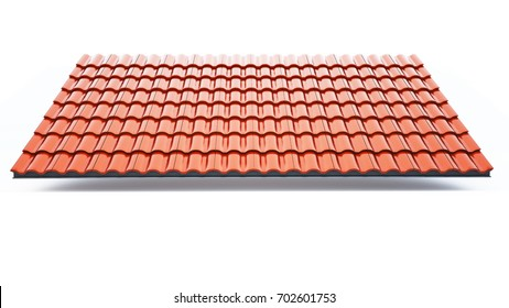 3d roof tile on the white background,3d rendering,red roof tile isolated on the white background,Tile with structure on the white background