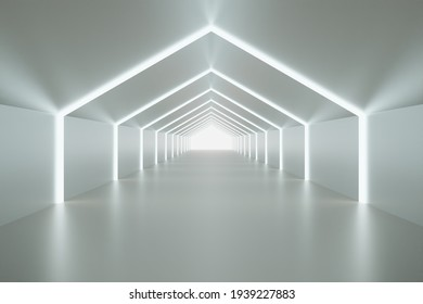3D room, minimal tunnel, Illuminated corridor with interior lights, 3D realistic tunnel for showcasing products. 3D Rendering