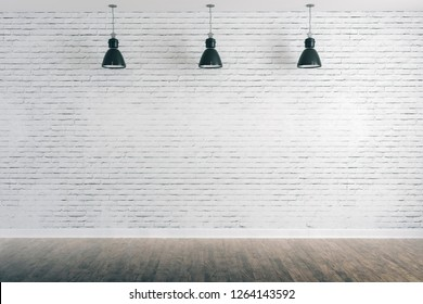 3d room with white brick wall and ceiling lamp
