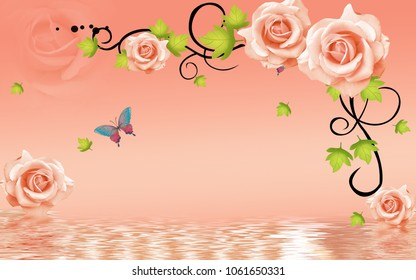 3d rose flowers background with butterfly wallpaper for walls.