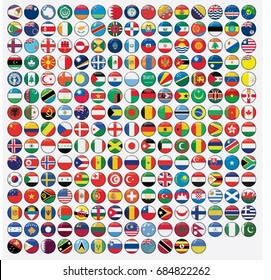 3D Round Shaped Illustrated Flags of the World