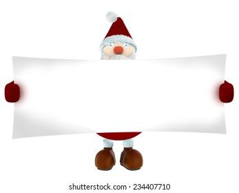 3D Santa Claus holding a wide white paper