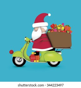 3D Santa Claus riding on scooter, carrying a sack of gifts, isolated on blue background.