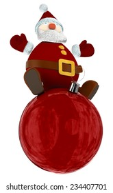3D Santa Claus standing on top of a big red Christmas globe isolated on white