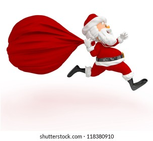 3D Santa running late with a gift sack - isolated over white