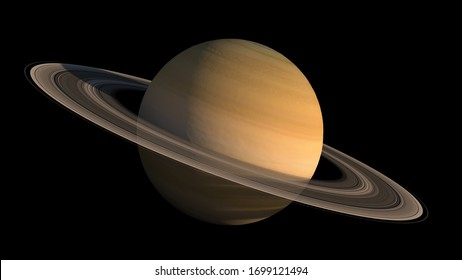 3D Saturn planet and rings close-up rendering with the clipping path included in the illustration, for space exploration backgrounds. Elements of this image furnished by NASA.