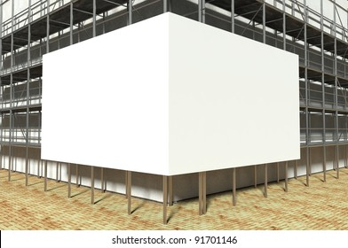 3d scaffolding and blank advertising billboard with copy space