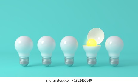 3D Scene. A plain white light bulb But there is a yellow light bulb inside.